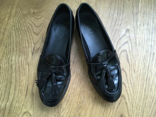Us 3 Tod's Size 2 6 5 5 1 Black Leather Loafers 36 Shoes Tasseled Uk xfx7qR
