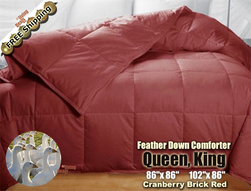 100 goose feather down comforters 95 5 soft bed comforter queen king cranberry ebay. Black Bedroom Furniture Sets. Home Design Ideas