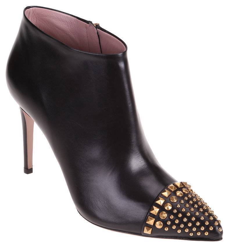 353724 AUTHENTIC GUCCI MALAGA KID BLACK LEATHER STUDDED BOOTIES  size 7   37
