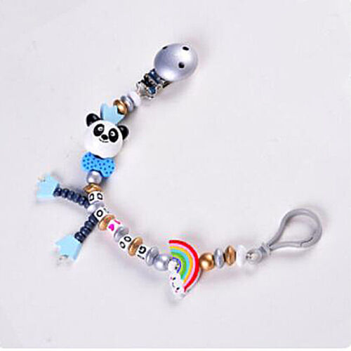 Kids Baby Boys Girls Dummy Panda Pacifier Soother Chain Strap Clip Holder N7