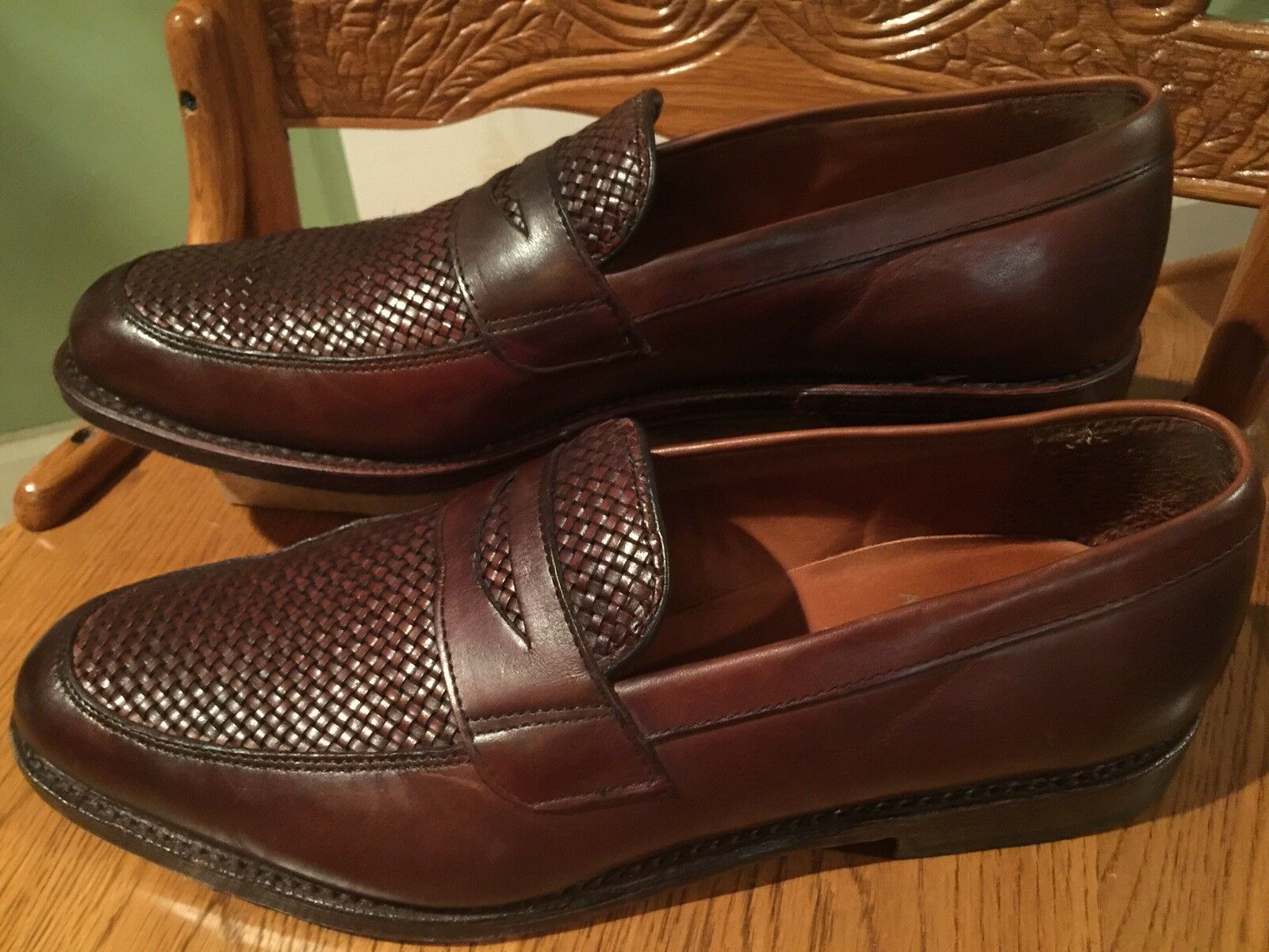 Allen Edmonds Lake blueff Dk Brown All Leather Loafers shoes Mens 10.5B USA Made