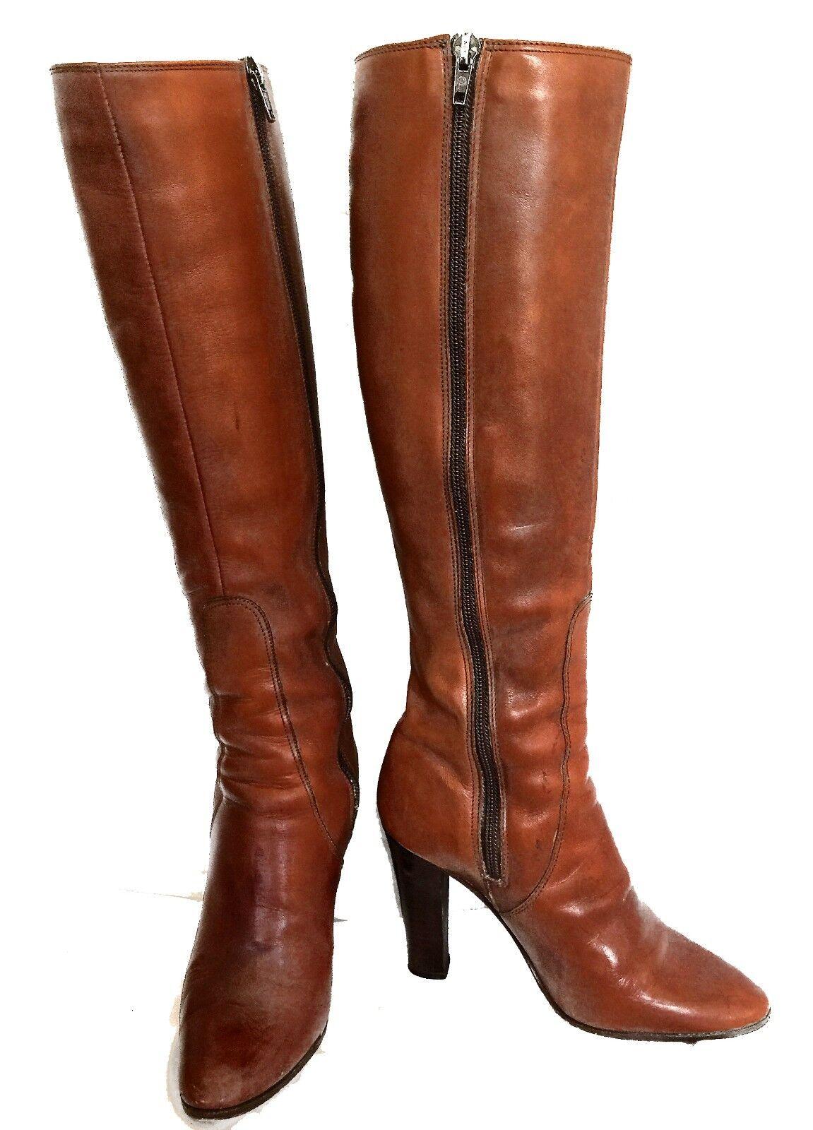 Hana Mackler Braun Leder Zip Up Stiefel - Größe 6.5 M - VTG -EUC
