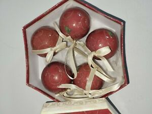 Vintage Christmas ornaments, set of 5 in matching box