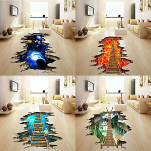 3D Floor//Wall Sticker Removable Mural Decals Vinyl Art Living Room Home Decor