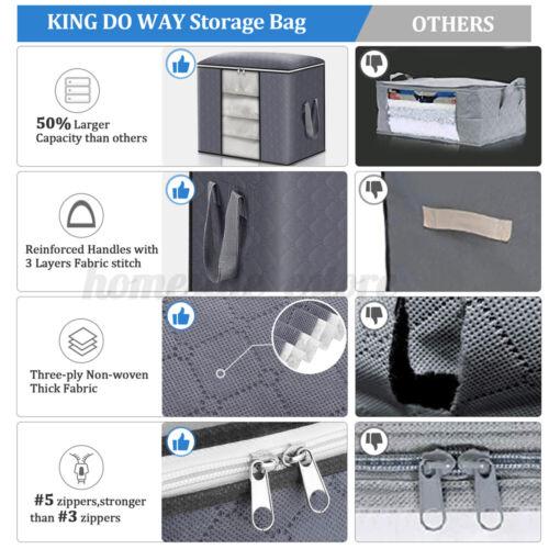 Storage Bags Dustproof Clothes Quilt Blanket Storage Sort Organizer 4 Packs