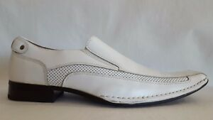 25a2df33aa0 Stacy Adams TEMPLIN Mens White Leather Bike Toe Loafers Dress Oxford ...
