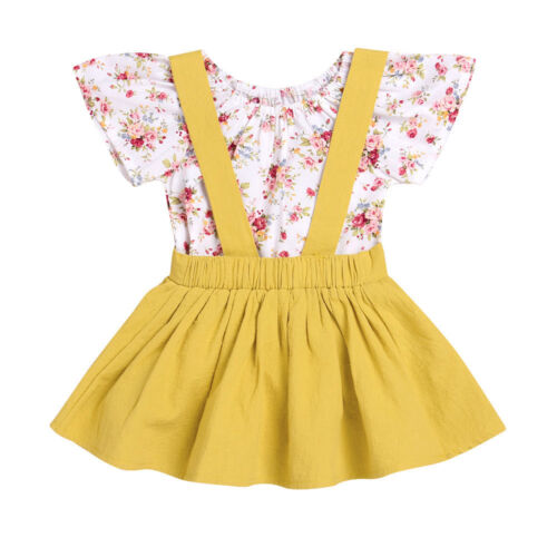 Beautiful Infant Baby Girl Floral Print Romper Jumpsuit+Strap Skirt 2Pcs Outfits