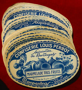 CONFISERIE-LOUIS-PERROT-CARPENTRAS-LOT-10-ETIQUETTES-ANCIENNES