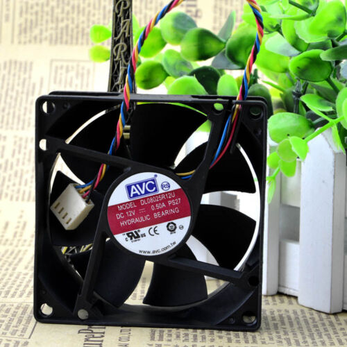 for AVC DL08025R12U 80x80x25mm PWM Chassis Cooling Fan 12V 0.50A 4Wire 4Pin