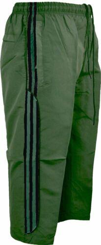 New Mens Summer 3//4 Elasticated Waist Striped Jogging Long Shorts Zip Pockets