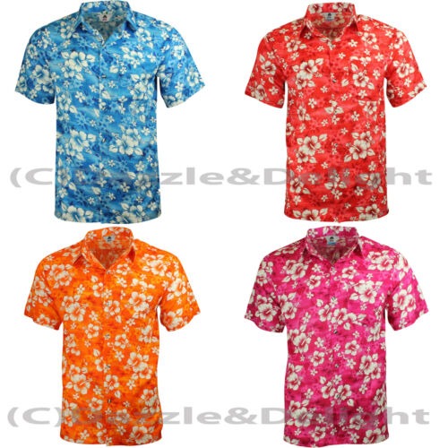 Details about  HAWAIIAN SHIRT PARTY FANCY DRESS S XL XXL BEACH FLORAL SHIRT STAG COTTON FEEL L