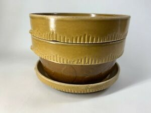 3-PC-VTG-COOK-RITE-BROWN-GLAZE-STONEWARE-CROCK-BOWL-Nesting-SET-Cookin-Ware