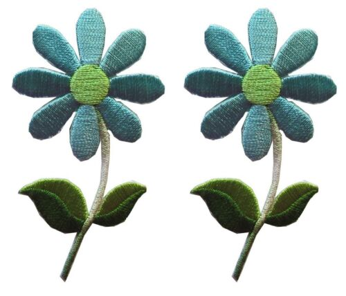 Yellow,Blue Flower Embroidery Applique Patch Lot 2Pcs Daisy White,Pink,Red