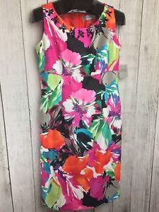 NWT-Kasper-Dress-Size-6-Sheath-Sleeveless-Career-Multi-Color-Floral-89