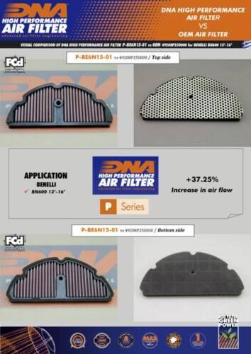DNA Haute Performance Filtre à Air Pour Benelli BN600 13-16 PN P-BE6N15-01
