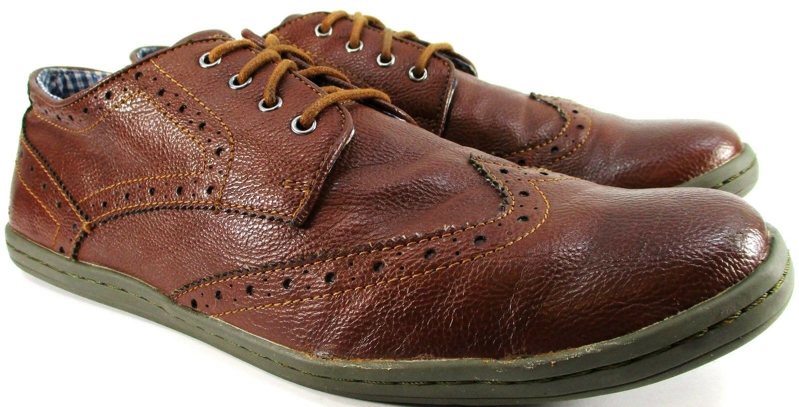 Ben Euro Sherman Men Wing Tip Schuhes Größe 11 Euro Ben 44 Braun Checked Fabric Lined 36bb68