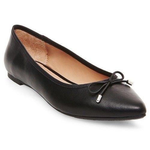 New! Women's Merona Noele Pointed Shoe Toe Ballet Flats Dress Shoe Pointed 096002915 Blk 133A 62c37d