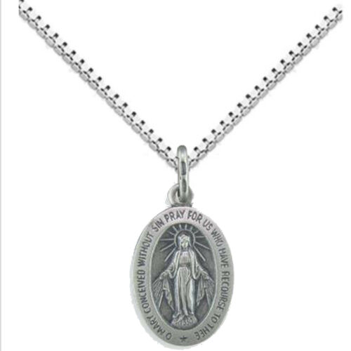 """Details about  /Oval Oxidized /""""Miraculous/"""" Medal 20mm x13mm 925 Solid Sterling Silver Lady-Child"""