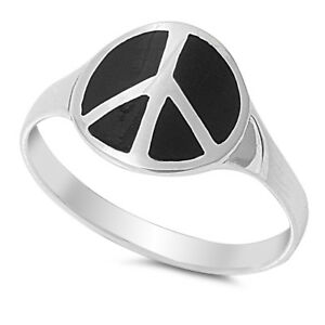 Peace Sign Ring Genuine Sterling Silver 925 Black Onyx Face Height 15 mm Size 9