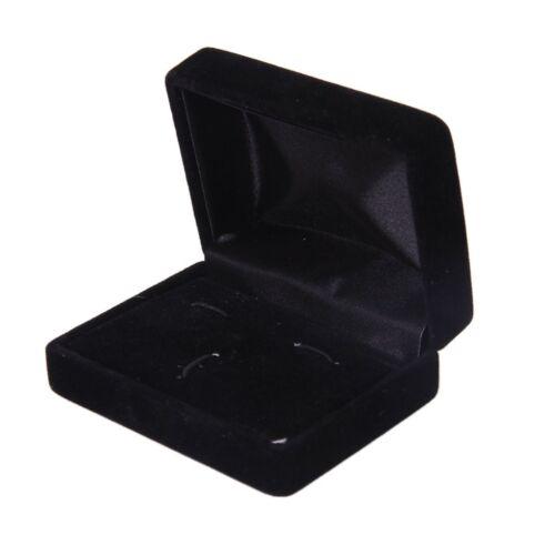Caja de Regalo Gemelos De Terciopelo Negro Joyería Display Case F9K5