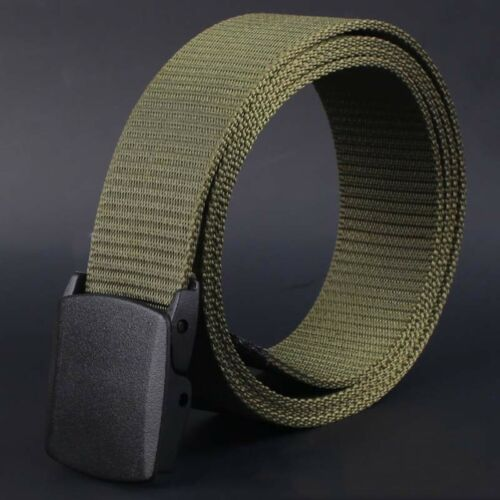 Fashion Wild-Men-Canvas-Belt-Hypoallergenic-Metal free-Plastic-Automatic-Buckle