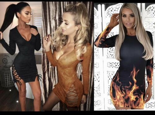Women Side Slit Shoe-Lace Long Sleeves Party Dress Bodycon 3D Print Comfy Casual