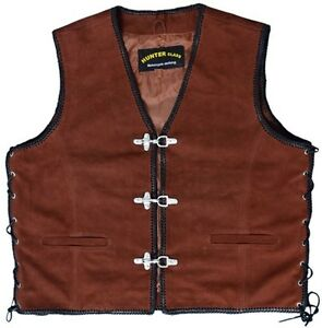 Waist Coat Vest Motorcycle Leather Nubuck Biker Buckle Motorbike AqwwaXI