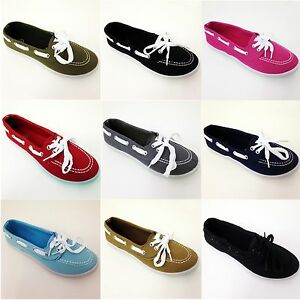 Womens-Canvas-Boat-Shoe-Flats-Loafers-Oxfords-Fashion-Deck-Casual-Sneakers-Sizes