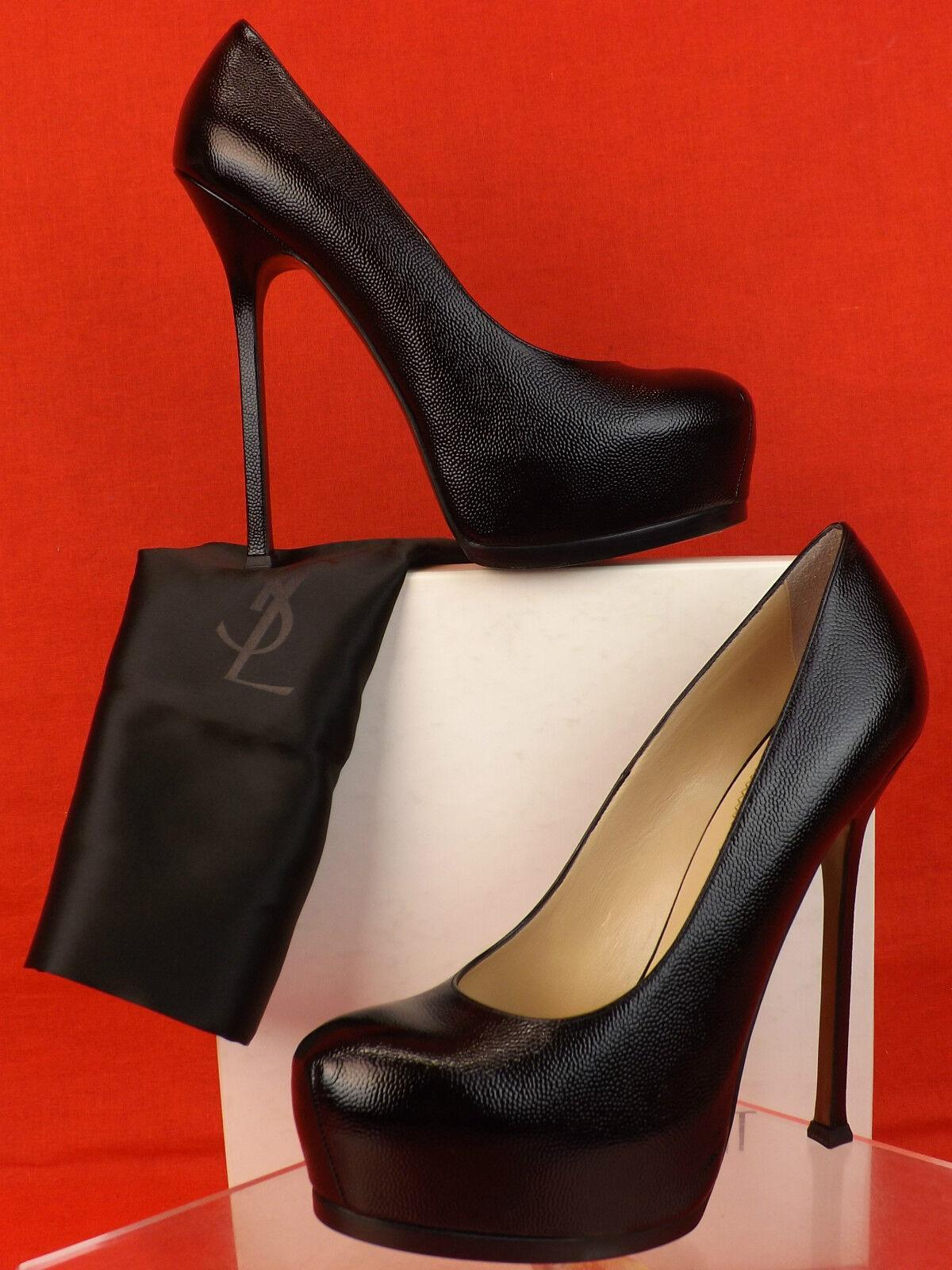 bb6d73a0 YSL Yves Saint Laurent Red Leather Palais PEEP Toe Platform PUMPS 40 9