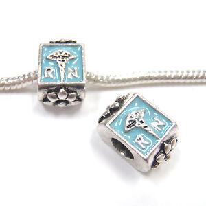 3-Beads-Registered-Nurse-RN-Blue-Enamel-Silver-European-Bead-Charm-E1174