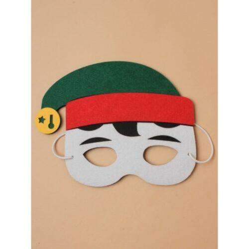 Festive Christmas Elf or Santa Claus Felt Face Mask Novelty Foam /& Felt Finish