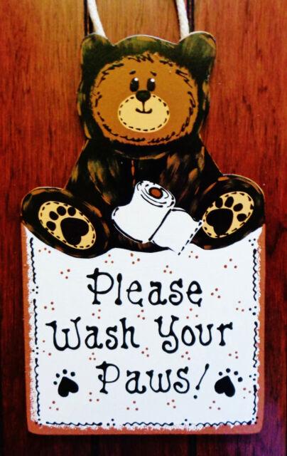 Bear Wash Your Paws Sign Bath Bathroom