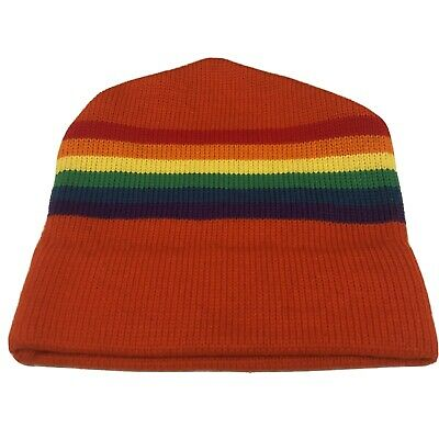 Grey Retro 80/'s Neon Colours Stripey Crochet Baggy Winter Hat Snowboard Ski Surf Skate Peaked Slouchy Floppy Beanie