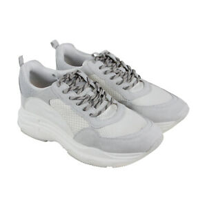 fbbdc8b5f29 Details about Steve Madden Russell Mens White Mesh & Suede Low Top Lace Up  Sneakers Shoes 9