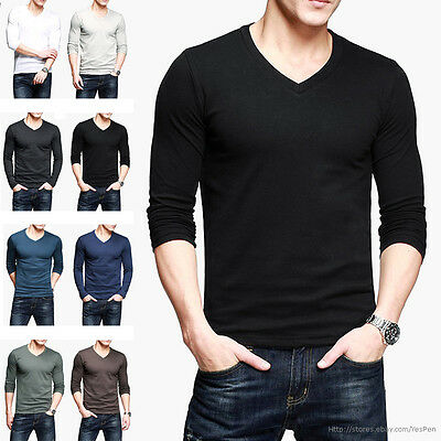 Mens Tee Bottoming T-Shirt Long Sleeve V neck Stretch Fitted Plain 9 Basis Color
