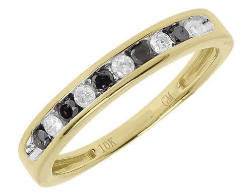 10k Yellow Gold Ladies Black White Diamond 3mm Channel Wedding Band Ring 0.26 ct