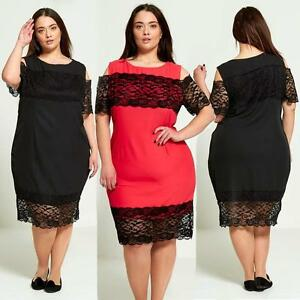 3a04d9845b4 New Womens Ladies plus size lace Lined Short Sleeve Party Skater ...