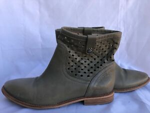 Details about Geox Respira Cutout Ankle Boots Slip On Leather Taupe Green Size 398B