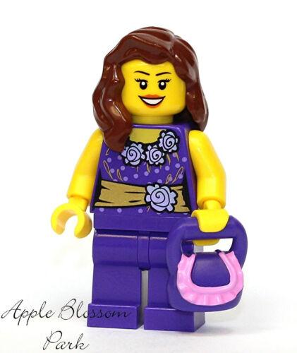 NEW Lego City FEMALE MINIFIG Girl w//Gold Purple Flower Torso Brown Hair /& Purse