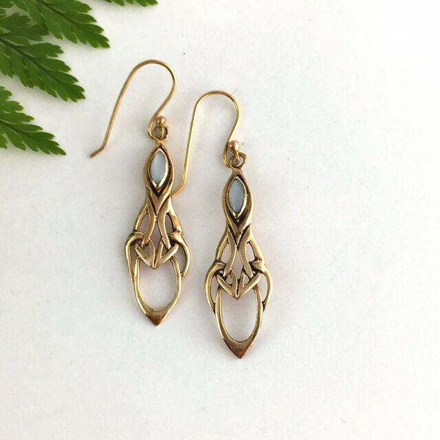 Beautiful Celtic Knot Vintage Gold Earrings on Hooks Set With Mother of Pearl