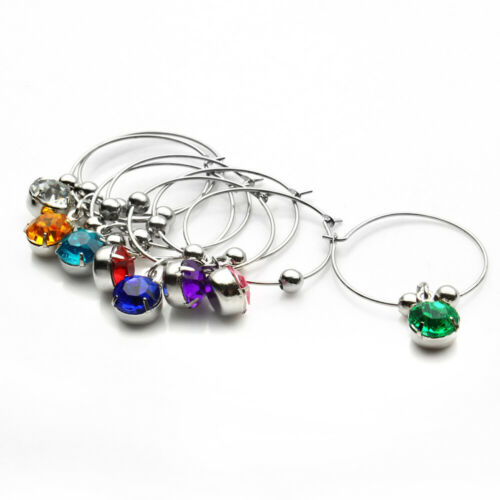 8Pcs Wine Glass Charms Drink Markers Charm Hanging Ring for Wedding Party Bar