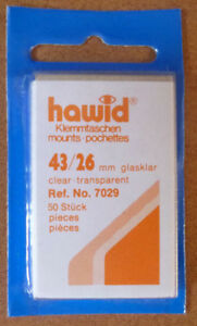 HAWID-STAMP-MOUNTS-CLEAR-Pack-of-50-Individual-43mm-x-26mm-Ref-No-7029