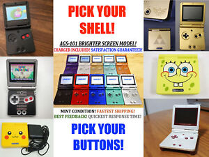 Nintendo-Game-Boy-Advance-GBA-SP-System-AGS-101-Brighter-Pick-Shell-amp-Buttons