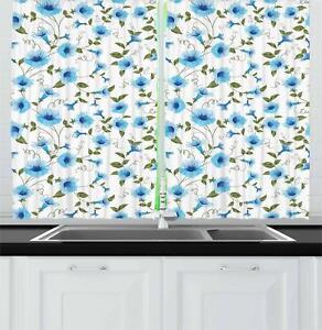 Details about Aqua Kitchen Curtains 2 Panel Set Window Drapes 55\