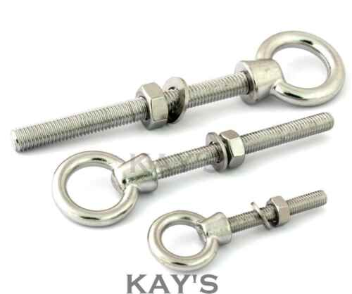 LIFTING EYE BOLTS NUTS /& WASHERS A4 MARINE GRADE STAINLESS STEEL M6 M8 M10 M12