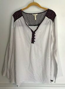 Matilda-Jane-Womens-Snow-Globe-Tunic-Top-Eyelet-Swiss-Dot-White-Floral-XXL-READ