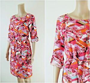 ex-White-Stuff-Pink-Mix-Geometric-Floral-Print-Casual-Tunic-Dress