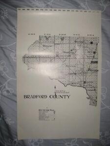 Antique 1914 Bradford County Florida Map 1987 Edition Starke Lake