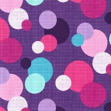 IN THE ROUND~PINK LAVENDER WHITE AQUA DOTS ON PURPLE~MICHAEL MILLER~BY 1/2 YD