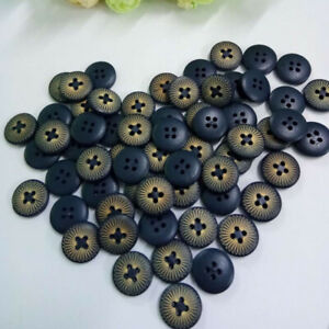 100Pcs-4-Holes-Dark-Blue-Wood-Wooden-Round-Buttons-Sewing-Scrapbooking-15mm